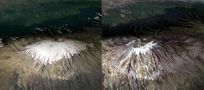 Shrinking summit.  NASA's Landsat satellite captured these images of Kilimanjaro February 17, 1993 and February 21, 2000.