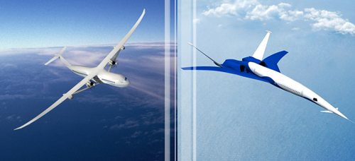 Boeing submitted these concept designs for a hybrid subsonic (left) and a high fuel efficiency supersonic airplane to NASA as part of the agency's N+3 program, which sought concepts for greener, higher performance commercial airplanes. The Subsonic Ultra Green Aircraft Research (SUGAR) project identified hybrid technology as a clear winning concept for subsonic aircraft, as long as battery technology can be improved to make the planes commercially viable