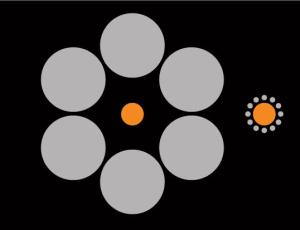 Which orange circle looks bigger?