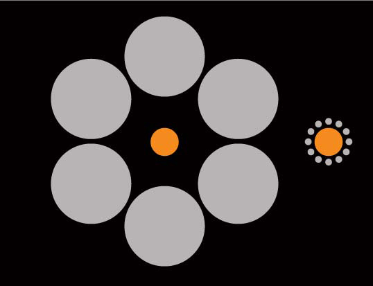 Which orange circle looks bigger?