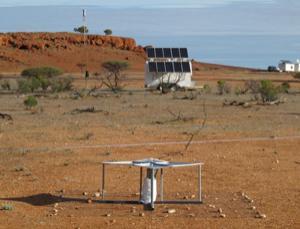 The EDGES radio antenna in Western Australia (foreground) measured ancient cosmic radiation