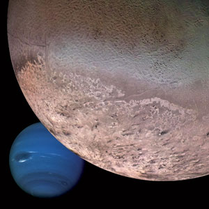 Neptune's moon Triton orbits in the opposite way from the others