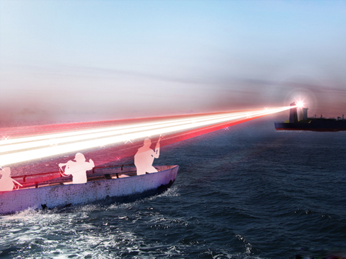 A BAE Systems artist's impression of the dazzling laser in action – the proposed system uses a green laser, however, and is not intended to vaporise suspected pirates