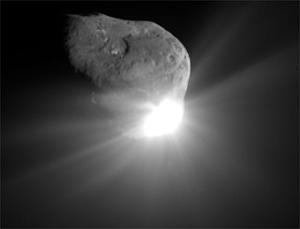 Deep Impact's impactor hit Comet Tempel 1, spewing debris, but the mission was not able to see the resulting crater