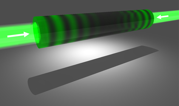 In an anti-laser, or coherent perfect absorber, the outgoing laser beams are replaced by incoming ones, and light flows into a light-absorbing material instead of out of a light-amplifying one