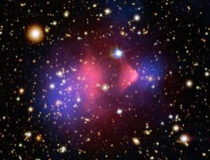 The pink sourounding the Bullet cluster shows the inferred position of dark matter, but what is it?