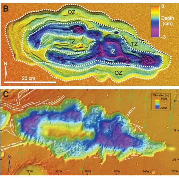 A model of Hebes Chasma using sand and tiny glass spheres (top, with elevations shown in false colour) matches the topography of the real canyon (bottom) (Top image: Tim Dooley; bottom image: Alan Gillespie/NASA)