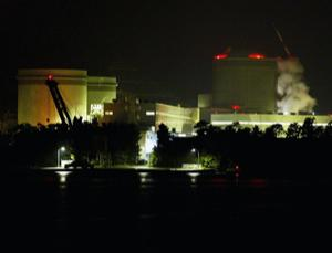 Steam rises at the no.3 reactor of the Mihama Nuclear Plant, on August 10, 2004