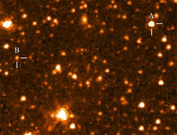 A cool brown dwarf (B) orbits its white dwarf companion (A)