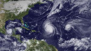 Hurricanes Karl, Igor and Julia (from left to right) on 16 September 2010