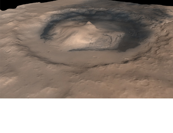 A mound of sedimentary rock rises nearly 5 kilometres high inside Mars's Gale crater