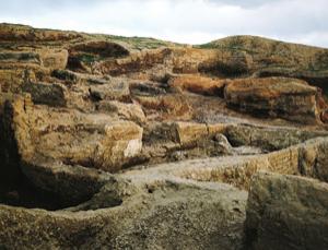 The exposed foundation walls of Çatalhöyük
