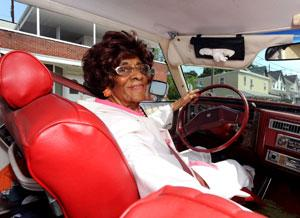 Still driving at 104: Gladys Flamer in her two-tone 1979 Cadillac Coupe de Ville in Coatesville, Pennsylvania, in May