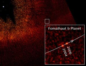 This image was taken with the Advanced Camera for Surveys aboard NASA's Hubble Space Telescope and shows Fomalhaut b apparently orbiting its parent star, Fomalhaut, which is the white dot near the top left