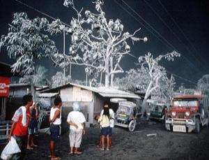 Aftermath of the 1991 eruption of the Mount Pinatubo volcano in the Philippines