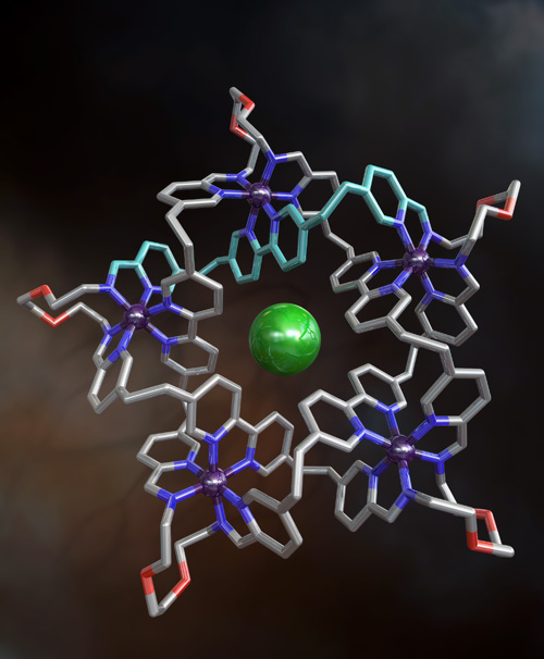 The knotted molecule. The chloride ion is the central green sphere, and the iron ions are shown in shiny purple