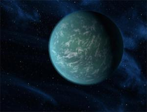 Kepler-22b, shown here in an artist's impression, is just 2.4 times as wide as Earth