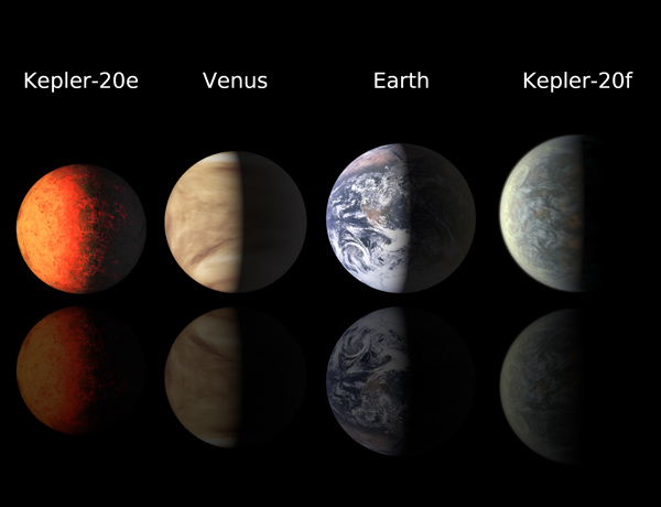 The smallest exoplanets yet spotted, Kepler-20 e and Kepler-20 f (illustrated here) are near-twins to Venus and Earth. Kepler-20 e is too close to its star to hold on to an atmosphere, but Kepler-20 f might be shrouded in a bit of water vapour