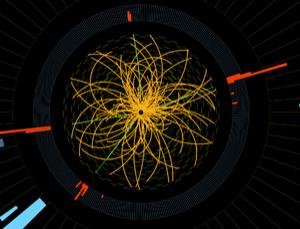 Real proton-proton collision events in the Large Hadron Collider's CMS experiment. The green lines and red towers are four high-energy electrons. This shows characteristics expected from the decay of a Higgs boson but is also consistent with background standard model physics processes