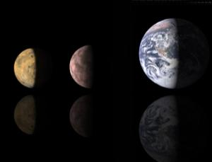 The newly found planet (centre) is about the size of Mars (left) and just over half as big as Earth (right)