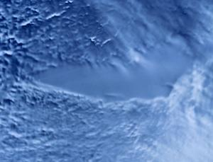 A radar satellite image shows smooth ice over the surface of Lake Vostok, over 3.5 kilometres down
