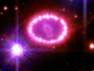 Supernova 1987A popped off in the centre of the 'pearl necklace'