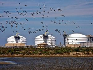 Liquid natural gas storage facility on Sabine Pass in Cameron Parish, Louisiana, US