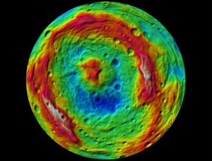 A false-colour topographical map of Vesta's South Pole. Rheasilvia Basin is the top left circle; Veneneia Basin is the fainter circle on the bottom right (NASA/JPL-Caltech/UCLA/MPS/DLR/IDA)