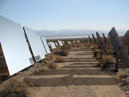The Ivanpah valley solar power plant, being built by BrightSource