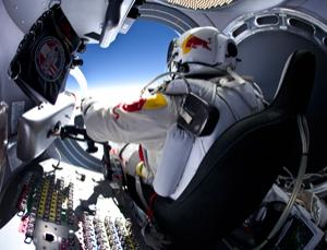 Practice run: Baumgartner landed safely after skydiving from 21,818 metres on 15 March