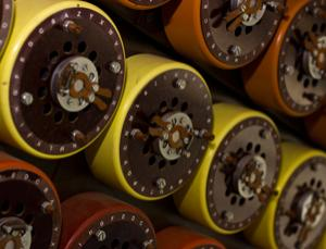 Reconstructed: the Bombe machine's dials, used to break Nazi Enigma codes