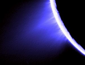 Pluming marvellous: a false-colour image of Enceladus's icy jets, taken by Cassini
