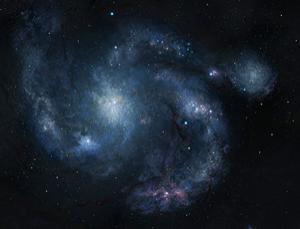 An artist's rendering of galaxy BX442 and its companion dwarf galaxy (upper right) Image: (Dunlap Institute for Astronomy and Astrophysics/Joe Bergeron)