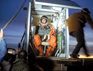 Nick Piantanida in the balloon gondola that took him to the edge of space