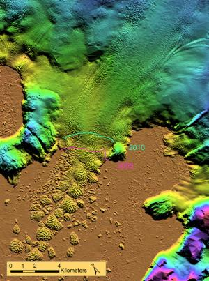 Extent of Kong Oscar glacier ice in 2010 (green) and 2005 (pink) (Image: Anders A. Björk, Natural History Museum of Denmark