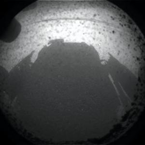 Curiosity's eye view of its own shadow on the surface of Mars