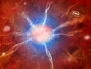 Artist's impression of galaxy at center of Phoenix Cluster: The hot gas in Phoenix gives off X-rays and cools quickly, causing gas to flow inwards and form huge numbers of stars at the base of the flows