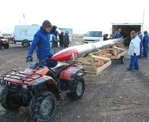 Who needs Hans and Franz? Stig-A heading for the launch pad, the low-tech way, last December