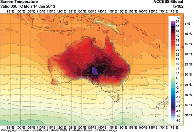 On Monday, the Australian Bureau of Meteorology forecast that temperatures later this week would reach 54 degrees Celsius, leading them to add two new shades of purple to their temperature scale. The forecast was later revised to show temperatures maxing out at 50C on Saturday