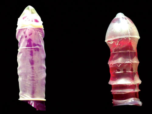 A sculpture in silicone, half contraceptive, half sex toy (right)