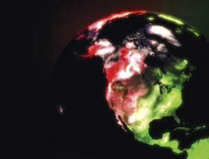 A false colour image shows how CO2 emission (red) gives way to CO2 absorption (green) as photosynthesis switches off at dawn