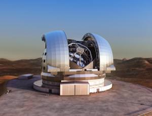 An artist's impression of the European Extremely Large Telescope