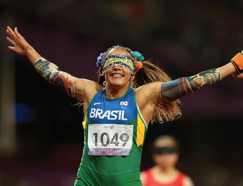 V for victory: even people born blind make this triumphant gesture. Terezinha Guilhermina had some sight when she was born but was totally blind when she won the women's 100 metres, T11 class, for Brazil in the London 2012 Paralympic Games