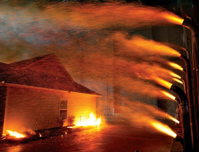 Fanning the flames: House burns in wildfire simulation