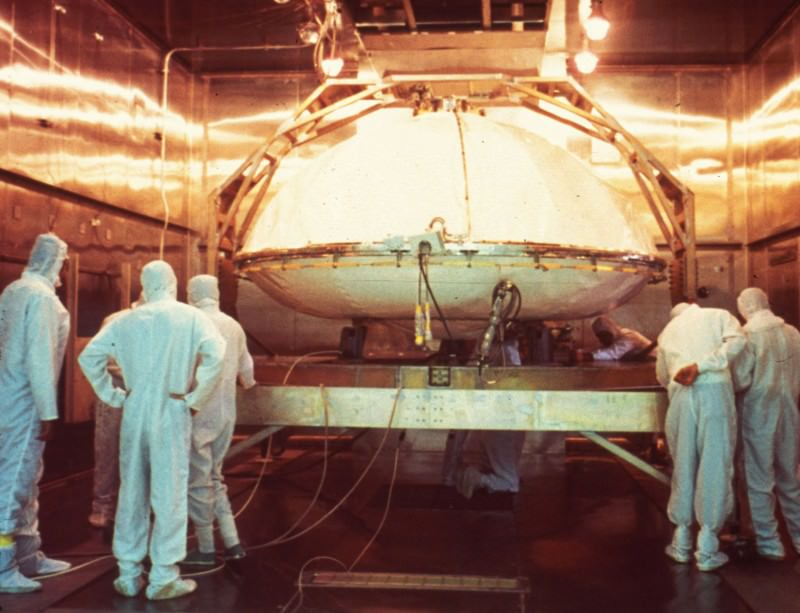 First, bake your Viking: technicians pop one of the 1970s landers into the oven for sterilisation