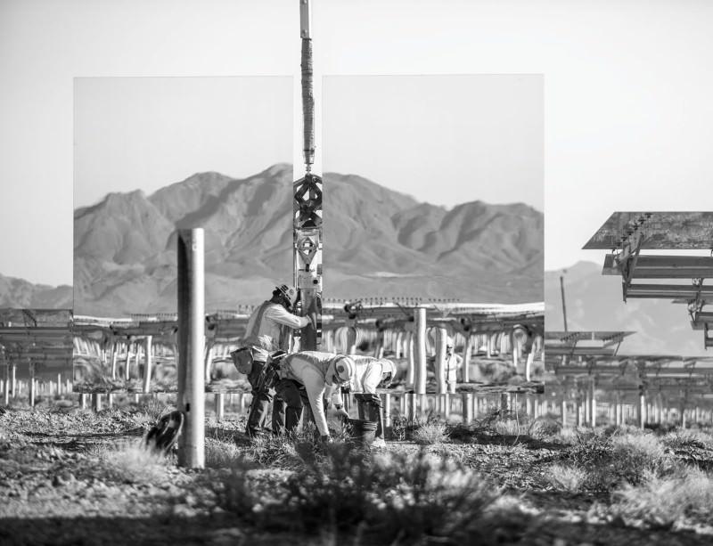 Sunflower mirrors power California's desert farm