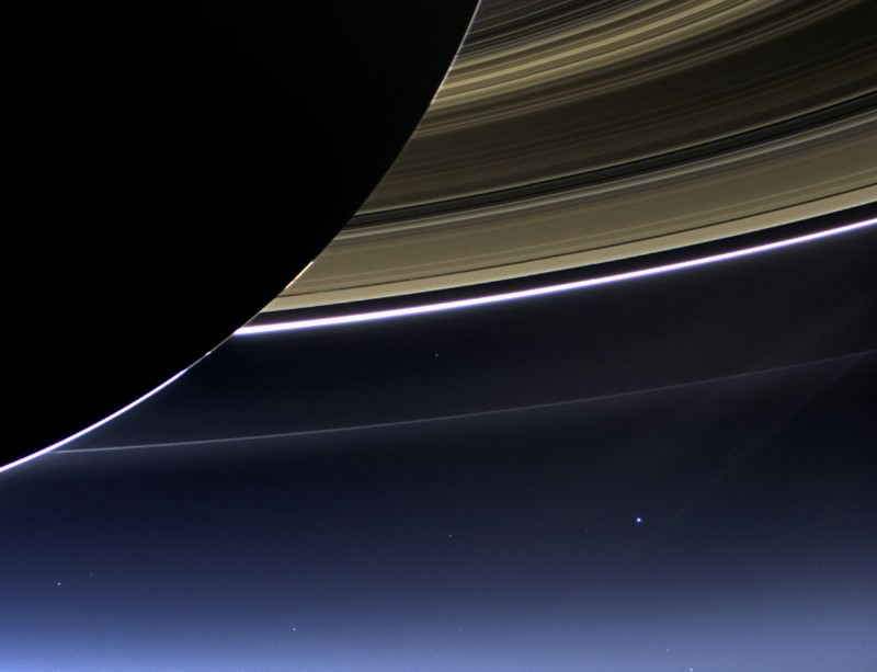 Shiny, happy Earth photobombs Saturn snapshot