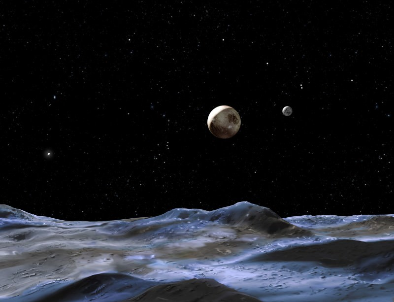 Pluto as imagined from one of its new moons