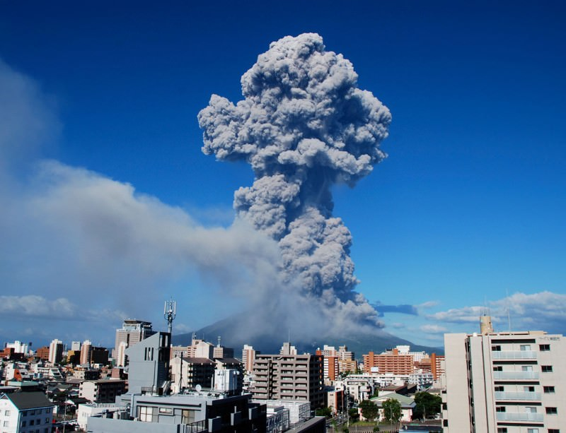 Hyperactive volcano dusts Japanese city in ash