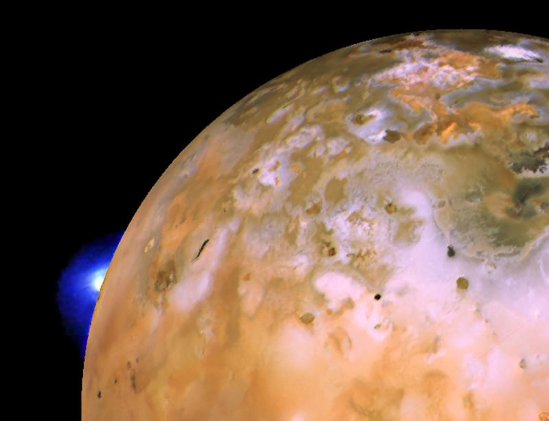 Images from the Voyager 1 probe taken decades ago make up this composite picture of Io which shows a plume spewing from a hotspot called Loki and catching the light on the horizon